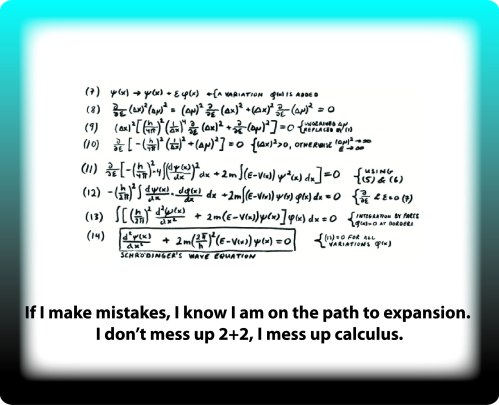 If I make mistakes, I know I am on the path to expansion. I don't mess up 2+2, I mess up calculus.